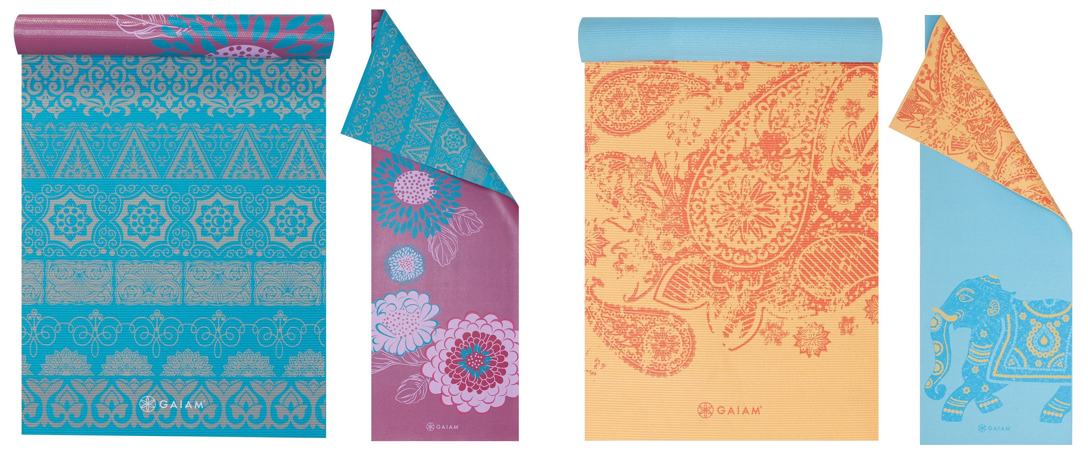 gaiam printed reversible yoga mat